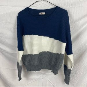 Women's Temt Multicolored Long Sleeve Boat Neck Pullover Jumper Size M